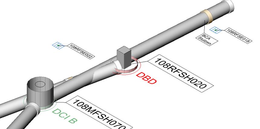 CAD-Grafik: Kanalnetz, 3D-Darstellung mit Schadenscodes